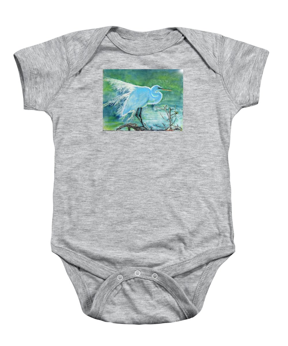 Egret Baby Onesie featuring the painting Egret In The Summer Breeze by Dawn Johansen