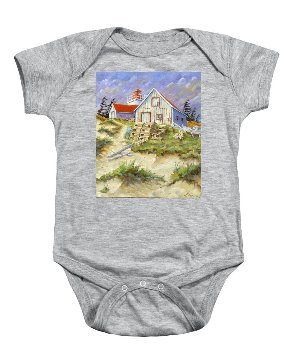 Art Baby Onesie featuring the painting End Of Lobster Season by Richard T Pranke