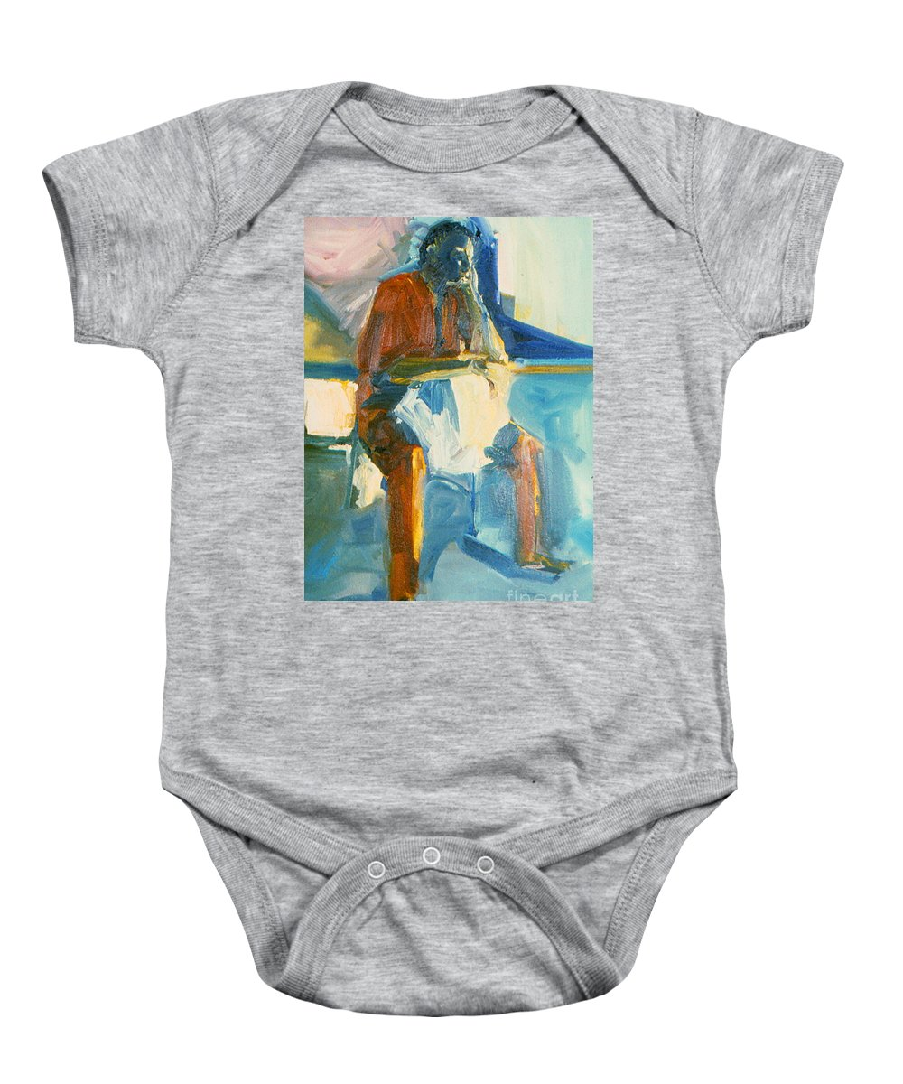 Oil Painting On Paper Baby Onesie featuring the painting Ernie by Daun Soden-Greene