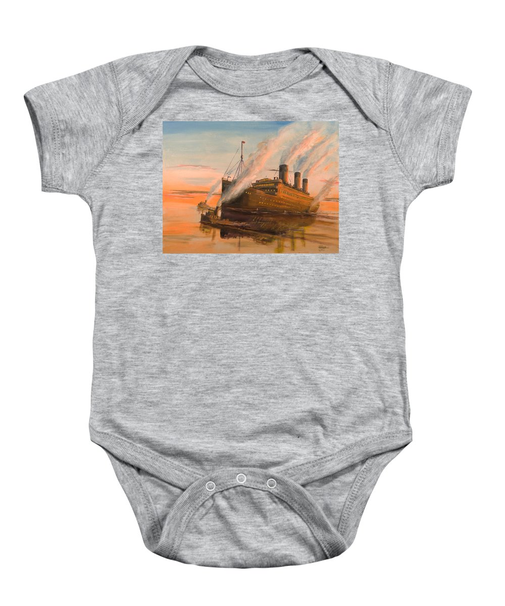 Ship Baby Onesie featuring the painting Evening Departure by Christopher Jenkins