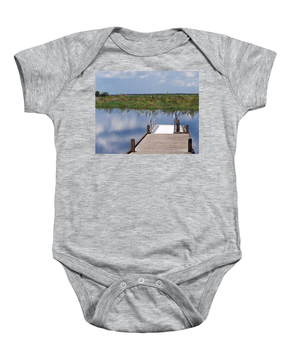 Florida; River; St; Johns; Saint; John; Flow; Flows; North; South Direction; Flowing; Current; Backw Baby Onesie featuring the photograph Florida Backwater by Allan Hughes