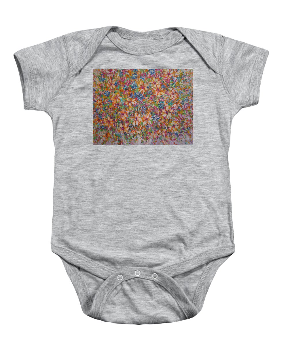 Flowers Baby Onesie featuring the painting Flower Galaxy by Natalie Holland