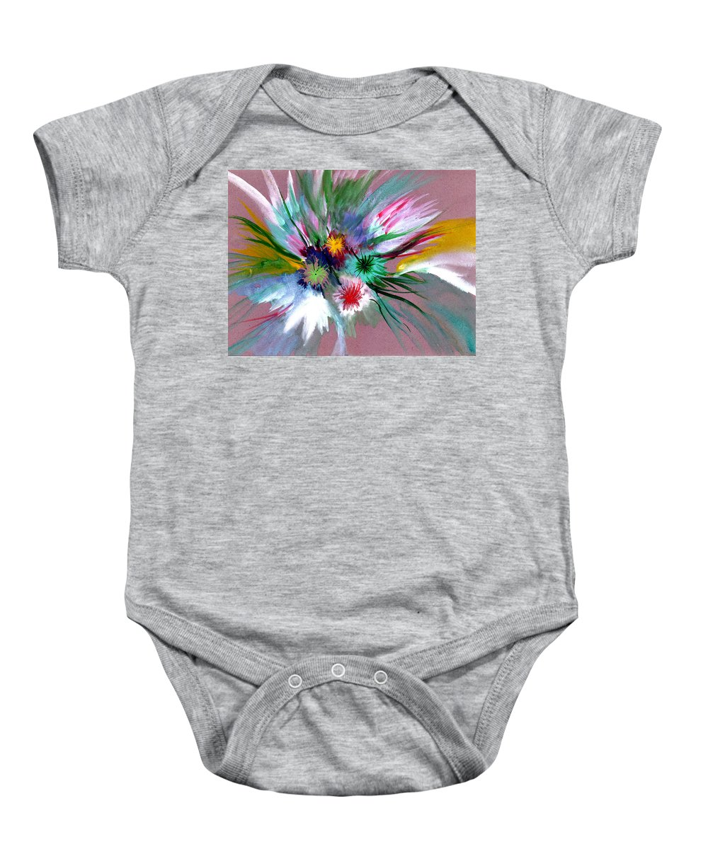 Flowers Baby Onesie featuring the painting Flowers by Anil Nene