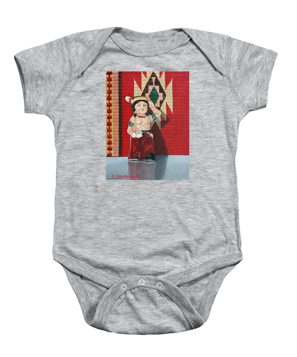 American Indian Baby Onesie featuring the painting Forever Brave by K Henderson