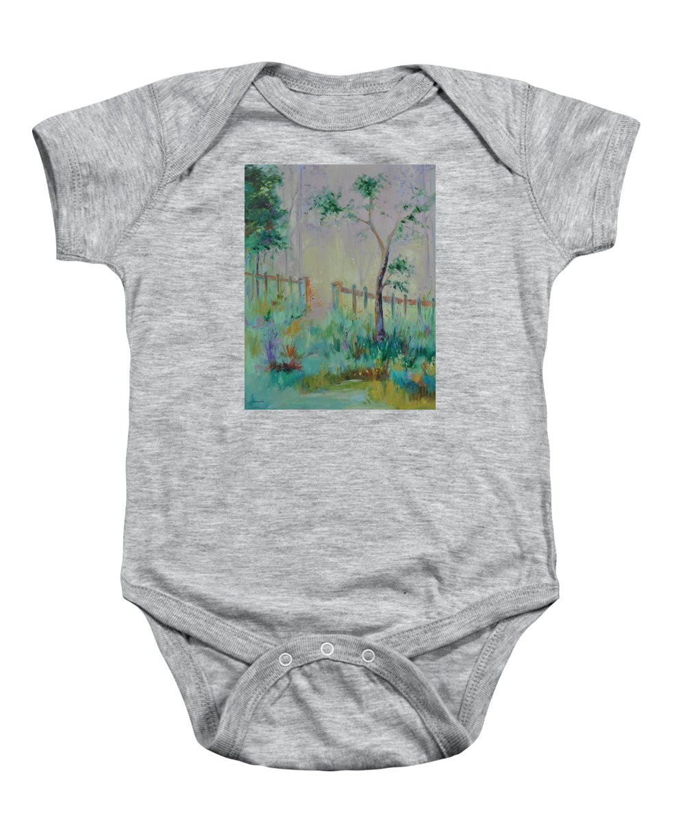 Garden Baby Onesie featuring the painting Garden And Beyond by Ginger Concepcion