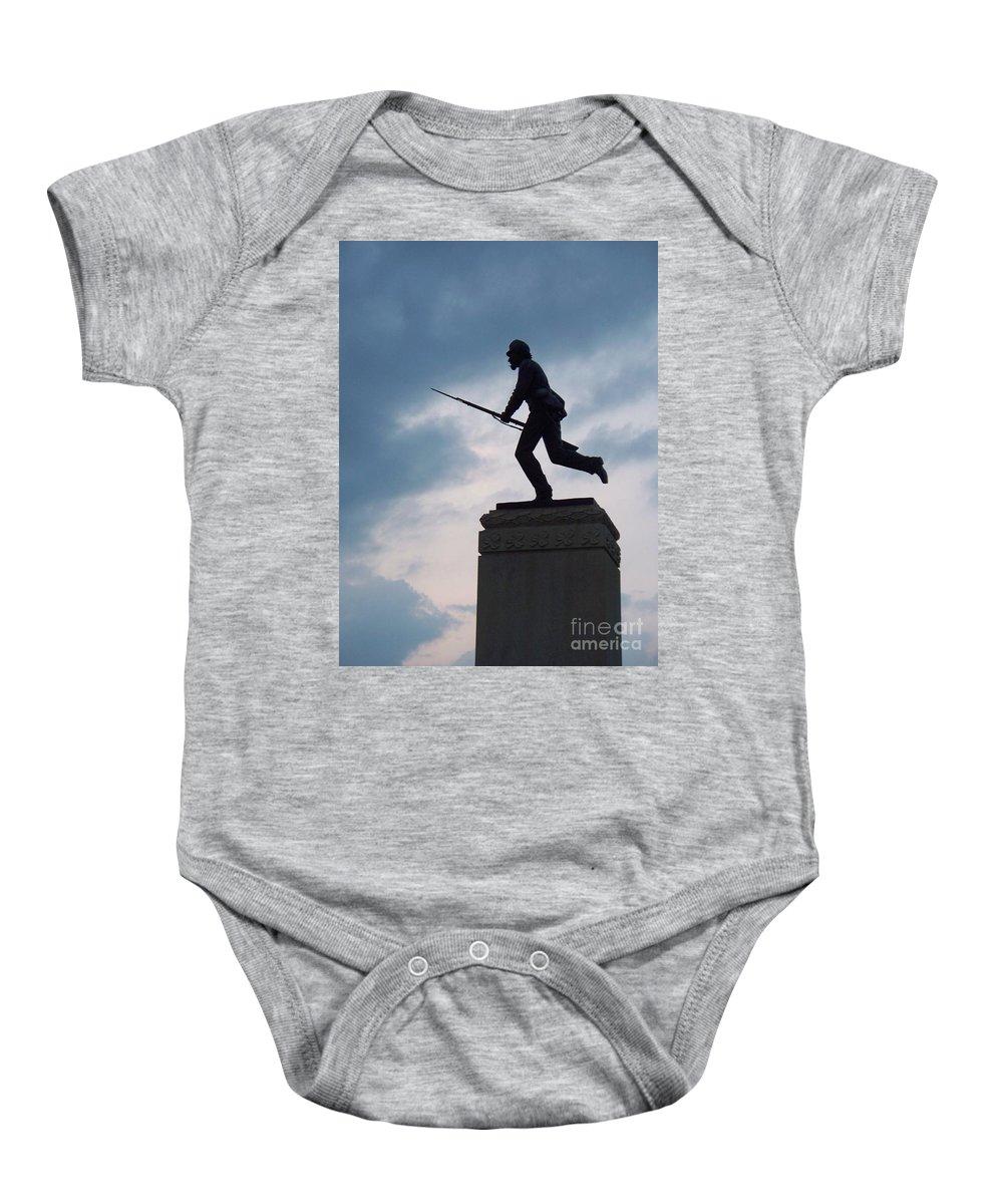 Minnesota Baby Onesie featuring the photograph Gettysburg Statue by Eric Schiabor