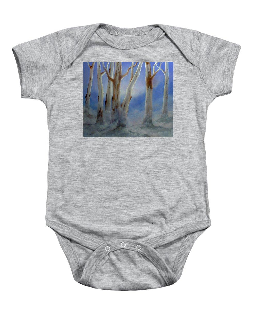 Ghostgums Baby Onesie featuring the painting Ghostgum Mist by John Cocoris
