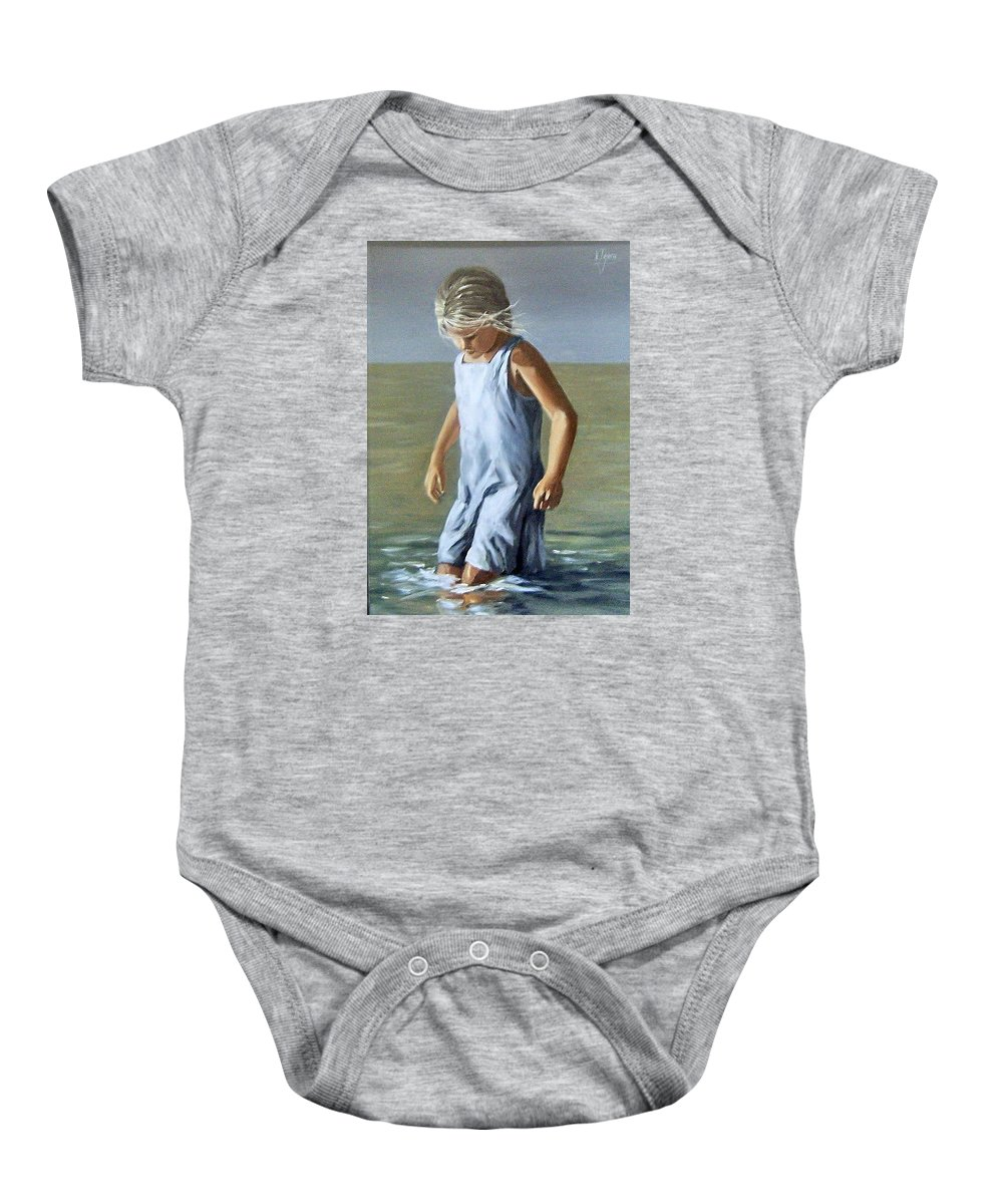 Girl Children Reflection Water Sea Figurative Portrait Baby Onesie featuring the painting Girl by Natalia Tejera