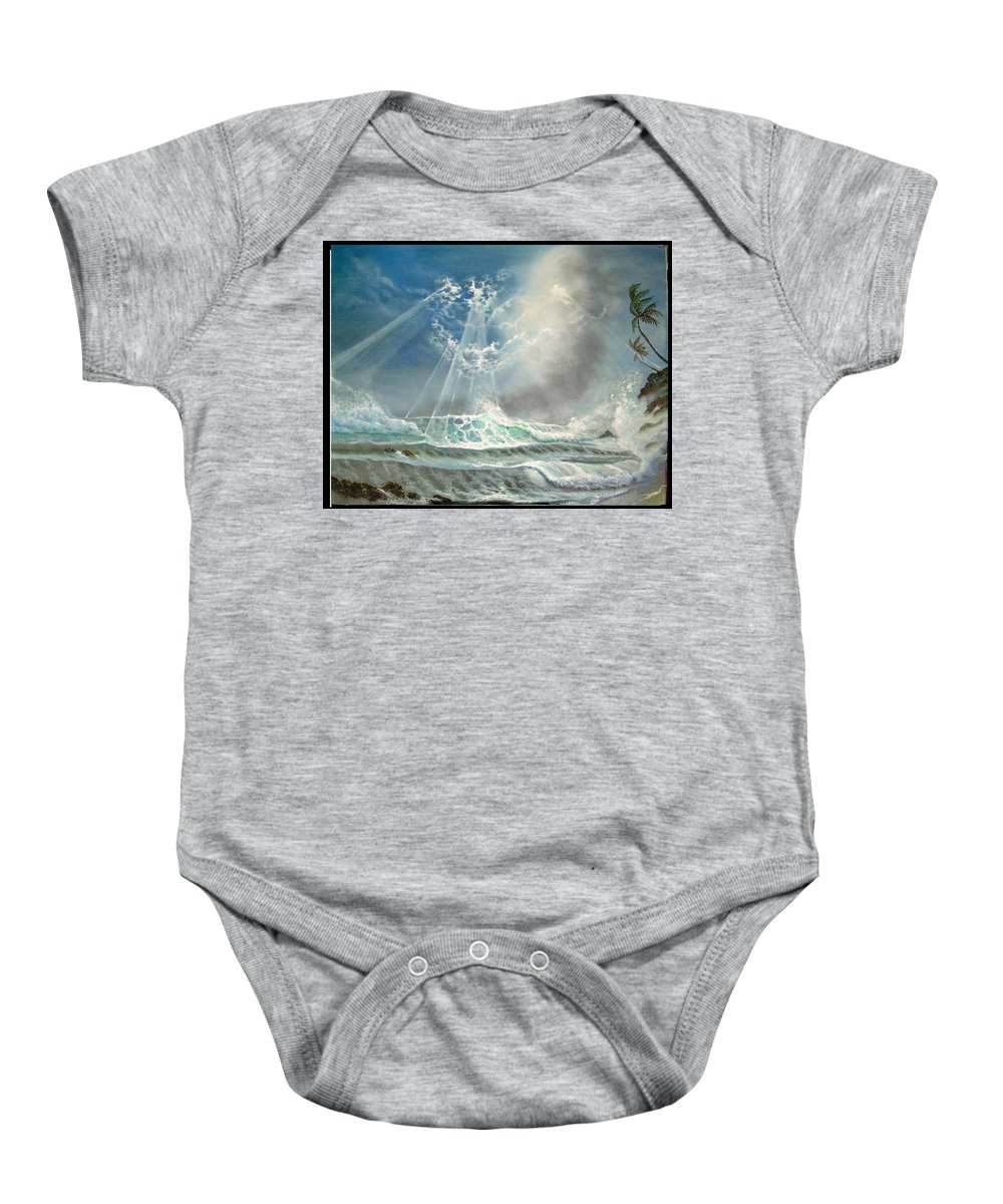 Hawaii Seascape Baby Onesie featuring the painting Hawaii Seascape by Leland Castro