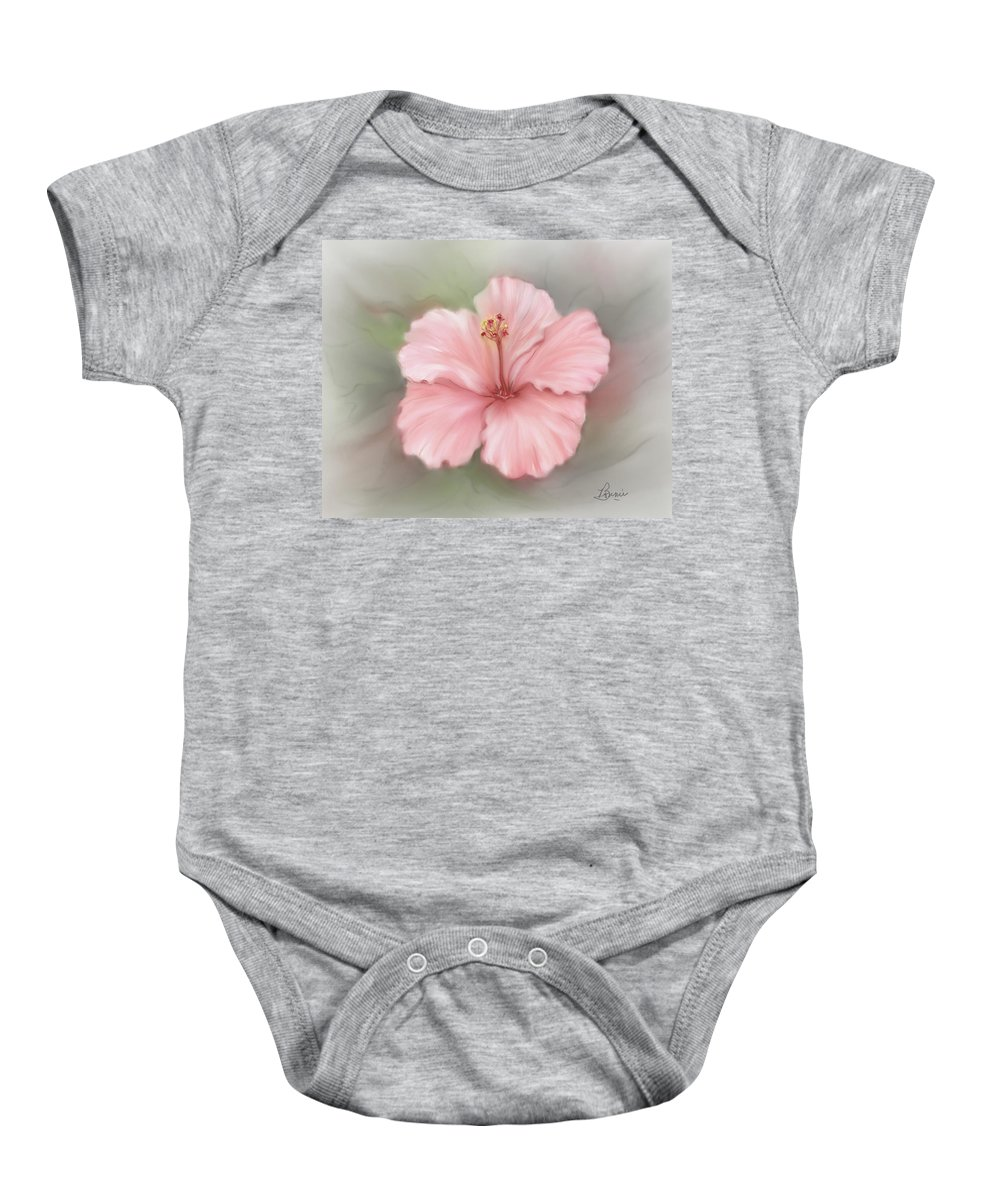 Floral Baby Onesie featuring the painting Hibiscus by Bonnie Willis
