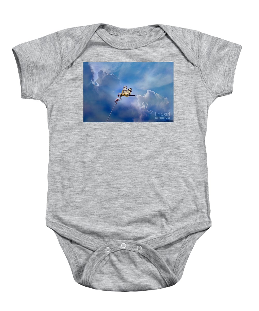 Bees Baby Onesie featuring the photograph High Flyer by Judy Kay