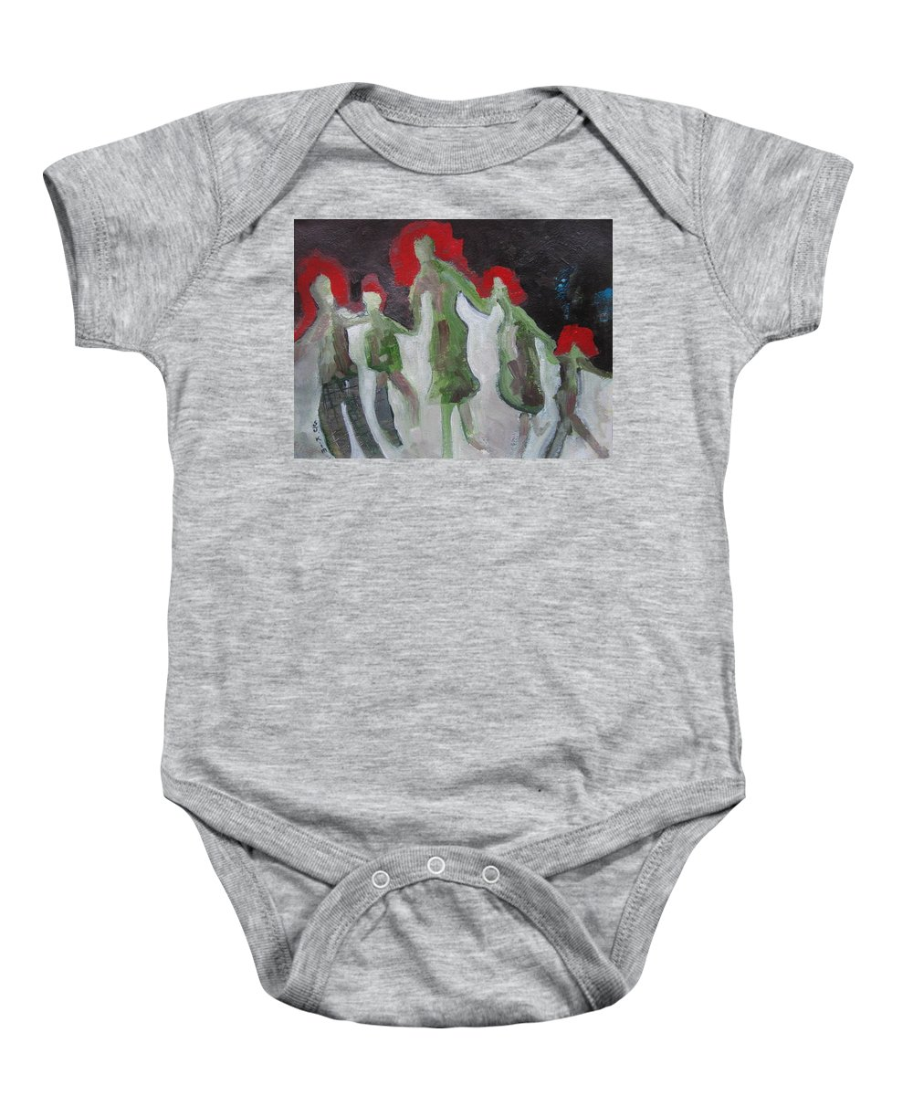 Abstract Paintings Baby Onesie featuring the painting Holding Hands by Seon-Jeong Kim