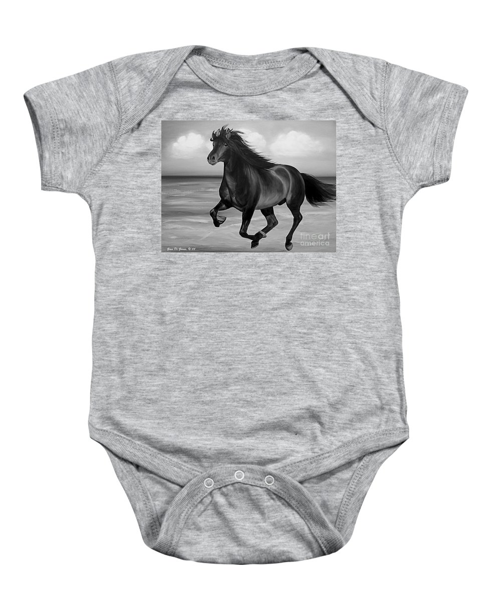 Horses Baby Onesie featuring the painting Horses In Paradise Run by Gina De Gorna