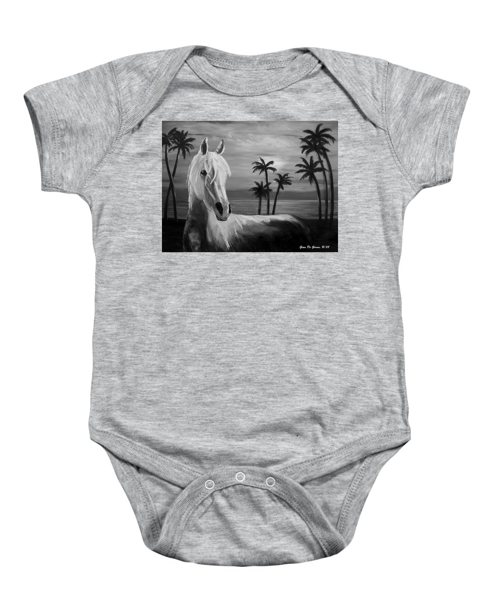 Horses Baby Onesie featuring the painting Horses In Paradise Tell Me Your Dream by Gina De Gorna