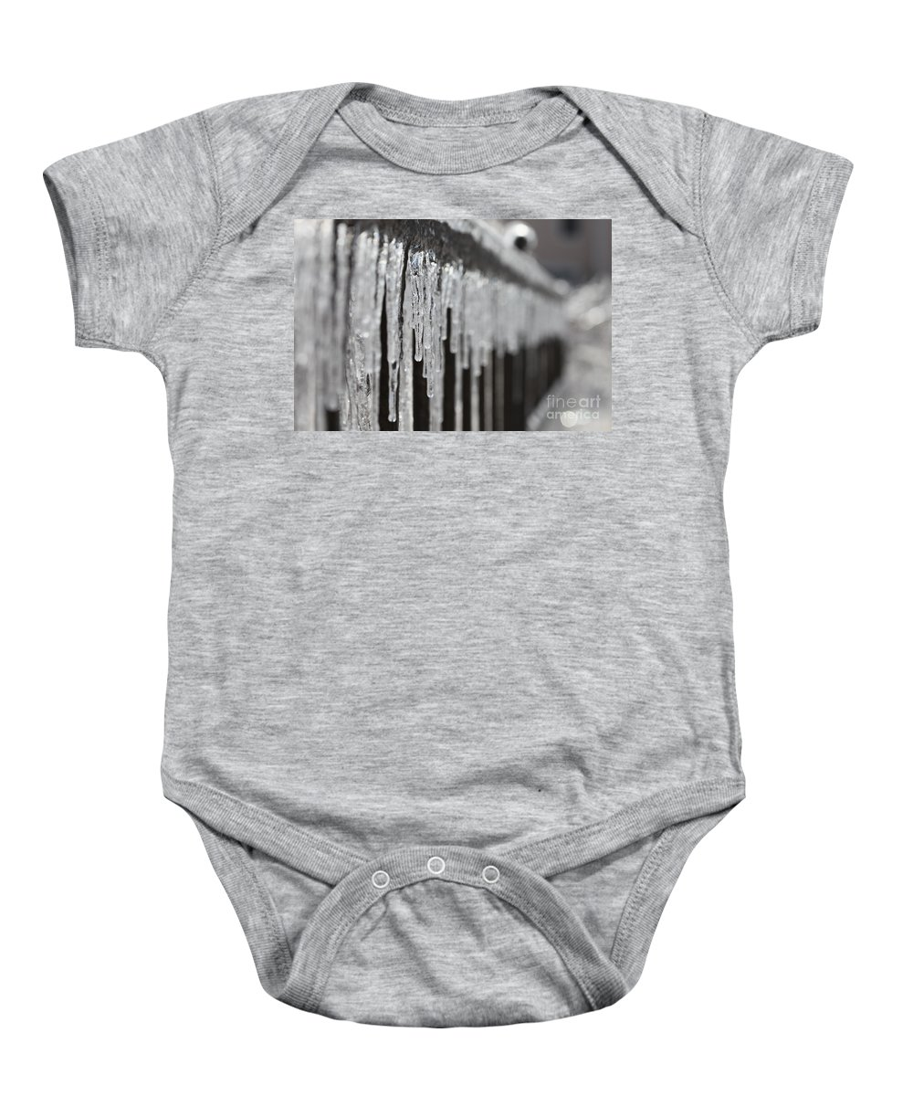 Icicles Baby Onesie featuring the photograph Icicles At Attention by Nadine Rippelmeyer