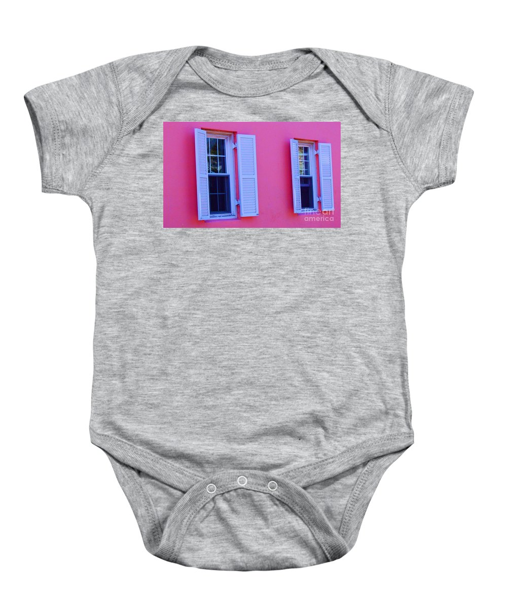 Shutters Baby Onesie featuring the photograph In The Pink by Debbi Granruth