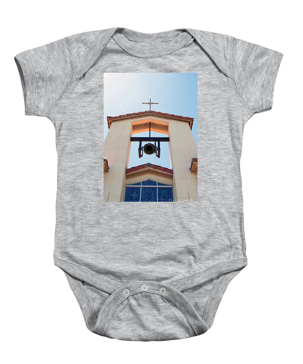 Cross Baby Onesie featuring the photograph 1 John 1 Vs 5 by Edmund Mazzola