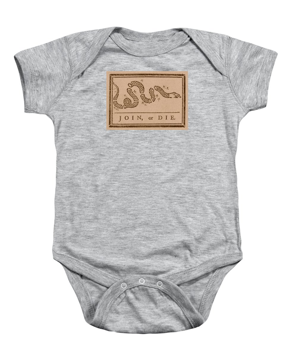Join Or Die Baby Onesie featuring the mixed media Join Or Die by War Is Hell Store