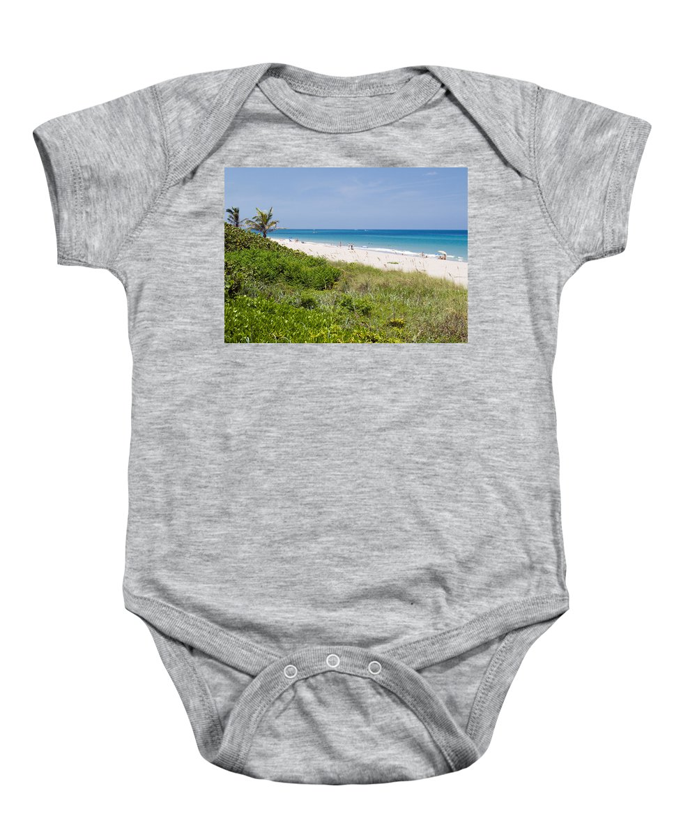 Juno; Florida; Loxahatchee; River; Jupiter; Inlet; Swim; Swimming; Children; Girl; Boy; Woman; Man; Baby Onesie featuring the photograph Juno Beach In Florida by Allan Hughes
