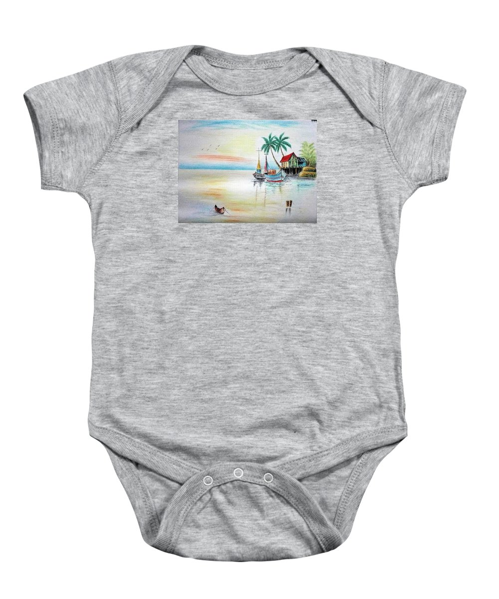 Landscape Baby Onesie featuring the painting Landscape by Mohamad Ali