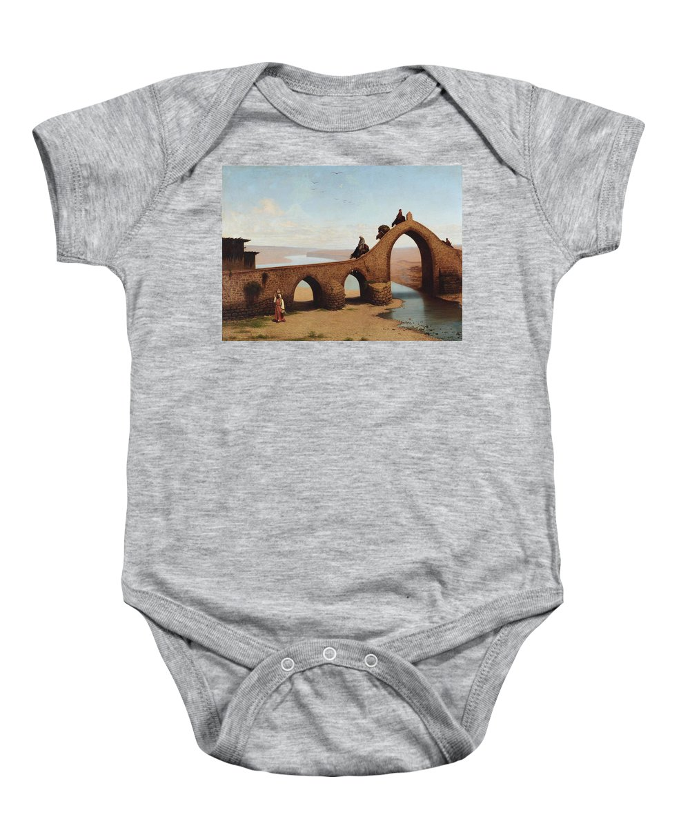 Cesare Biseo (rome 1843-1909 ) Baby Onesie featuring the painting Landscape With Bridge by Cesare Biseo