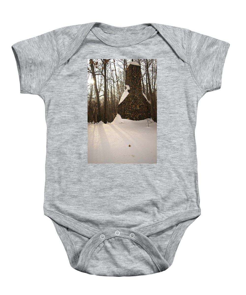 white Mountains Baby Onesie featuring the photograph Left Behind by Paul Mangold