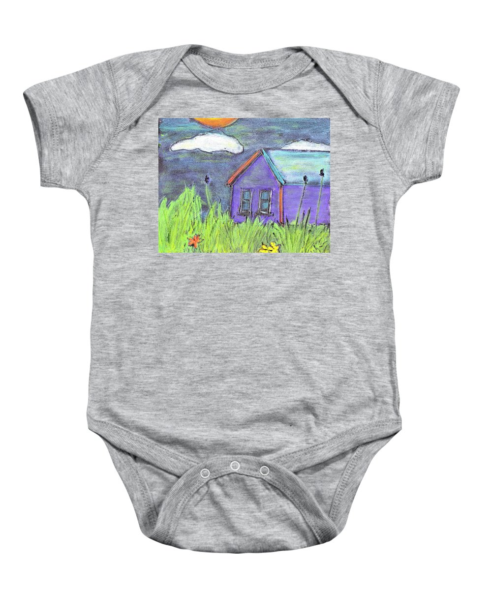 Abandoned Baby Onesie featuring the painting Left Behind by Wayne Potrafka
