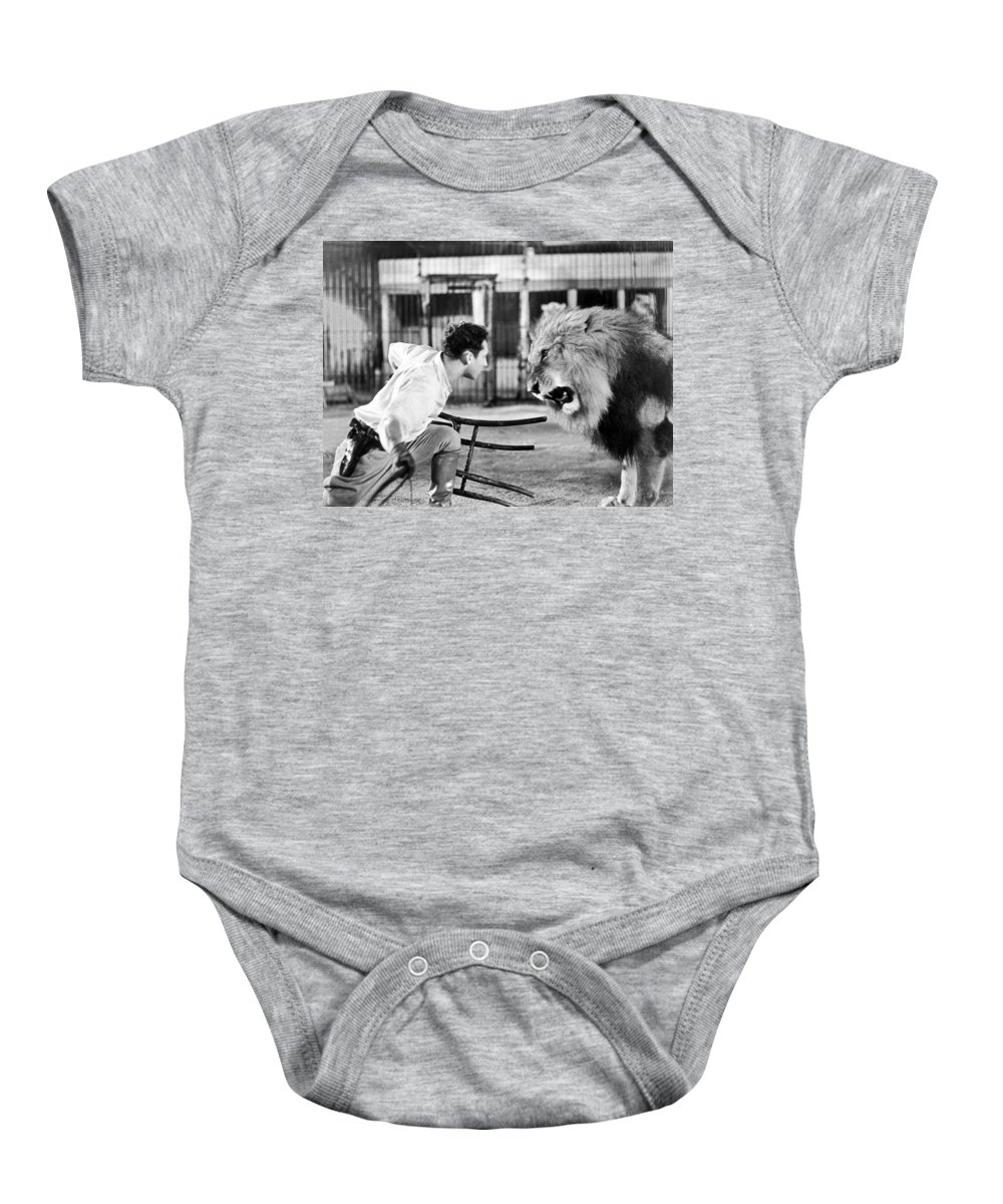 1930 Baby Onesie featuring the photograph Lion Tamer, 1930s by Granger