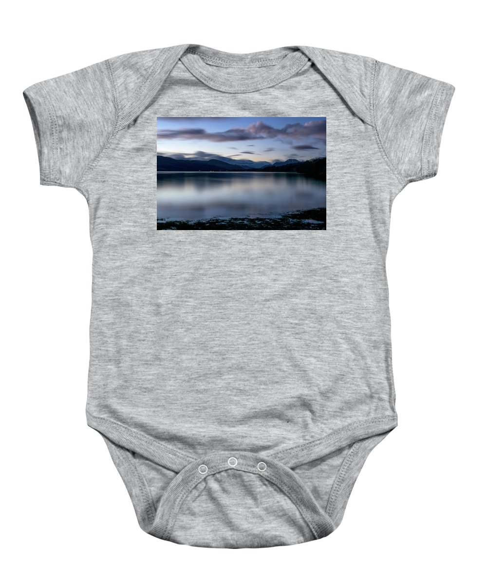 Balloch Baby Onesie featuring the digital art Loch Lomond by Gary Ellis