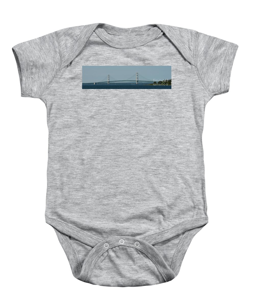 Mackinac Baby Onesie featuring the photograph Mackinac Bridge 2 by Wesley Farnsworth