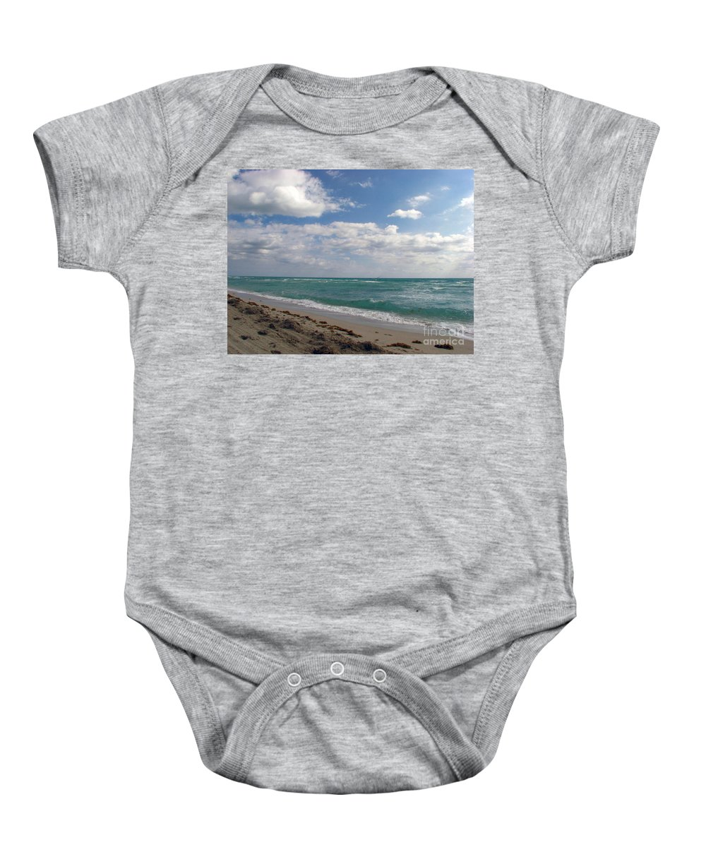 Miami Beach Baby Onesie featuring the photograph Miami Beach by Amanda Barcon