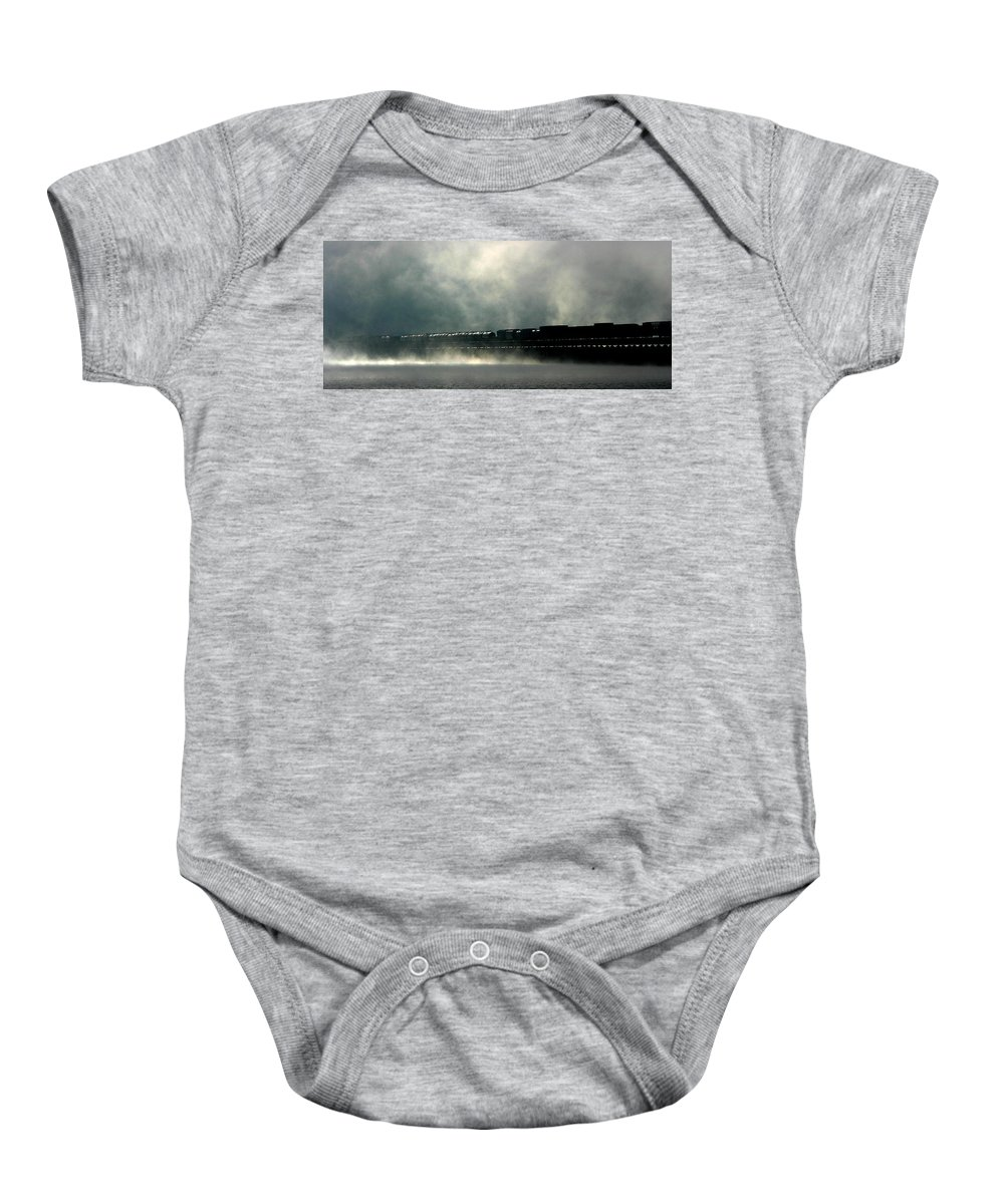 Train Baby Onesie featuring the photograph Misty Crossing by Marie-Dominique Verdier