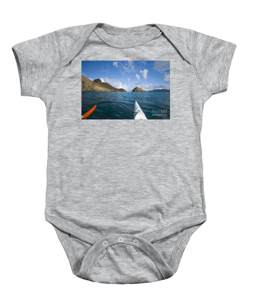 Aku Baby Onesie featuring the photograph Mokulua Islands by Dana Edmunds - Printscapes