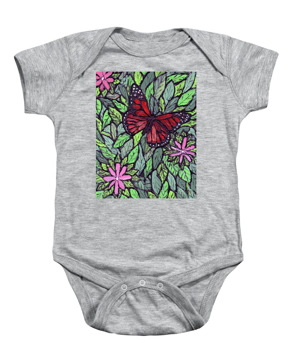 Monarch Baby Onesie featuring the painting Monarch Butterfly by Wayne Potrafka