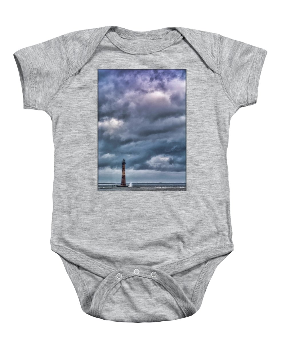 Lighthouse Baby Onesie featuring the photograph Morris Island Lighthouse by Erika Fawcett