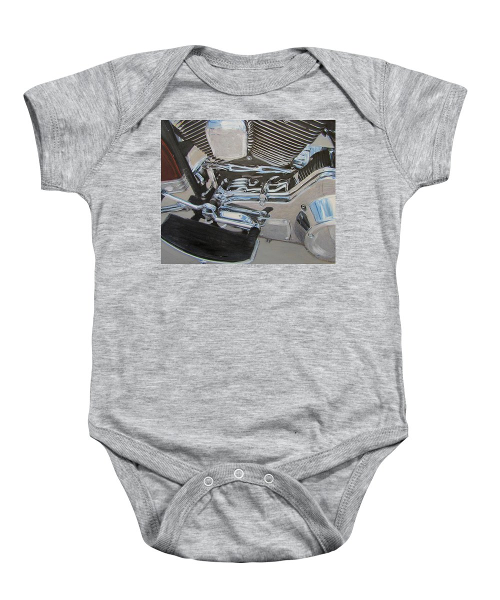 Motorcycle Baby Onesie featuring the mixed media Motorcycle close up 2 by Anita Burgermeister