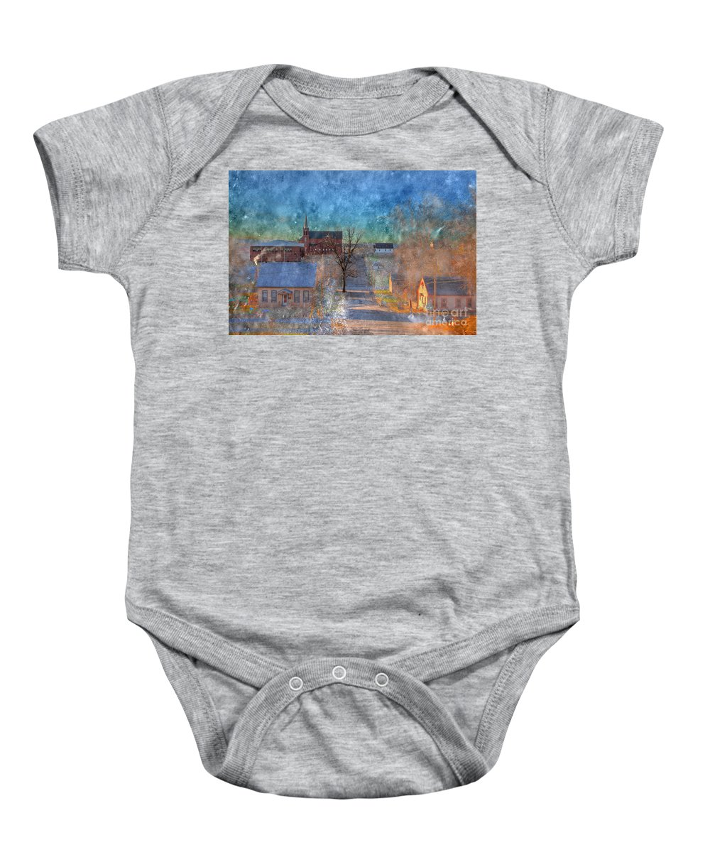 Church Baby Onesie featuring the photograph Mozart Street by Larry Braun