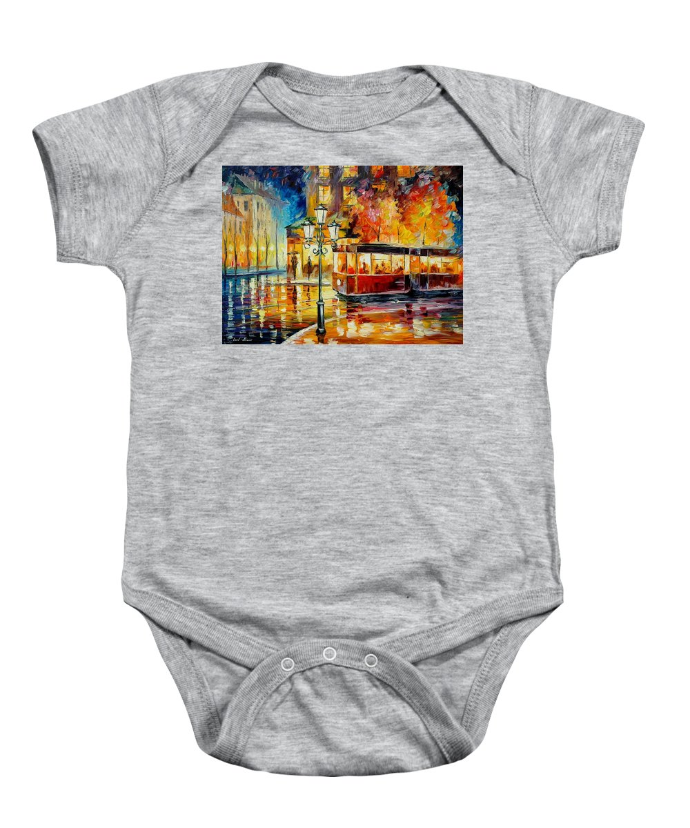 Afremov Baby Onesie featuring the painting Night Trolley by Leonid Afremov