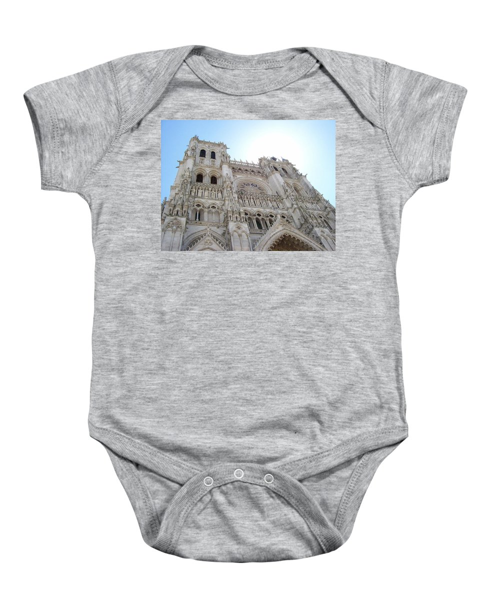 Notre-dame D'amiens Baby Onesie featuring the photograph Notre-dame D'amiens by Mary Mikawoz
