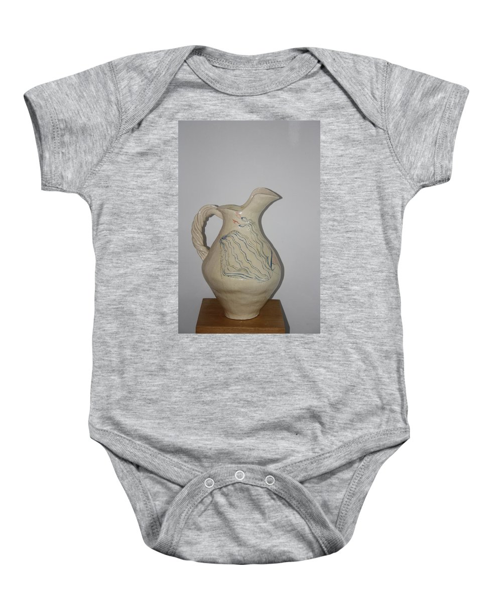 Jesus Baby Onesie featuring the ceramic art Nze Jug by Gloria Ssali