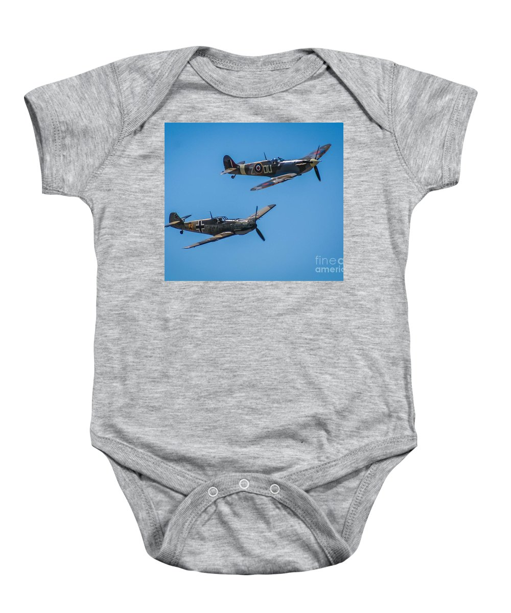 Spitfire Baby Onesie featuring the photograph Old Adversaries by SnapHound Photography