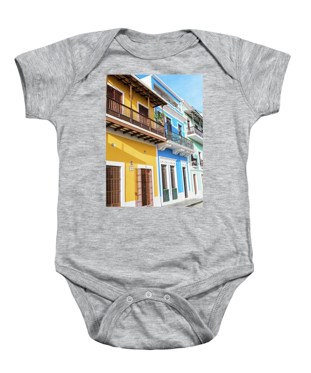 Colorful Baby Onesie featuring the photograph Old San Juan Houses In Historic Street In Puerto Rico by Jasmin Burton