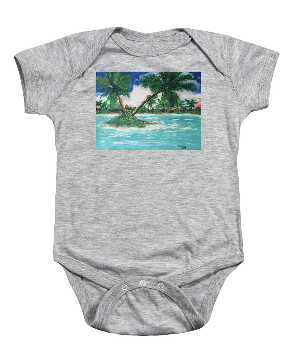 Island Baby Onesie featuring the painting Paradise Island by Debbie Levene