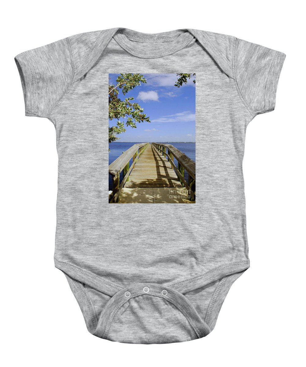 Pier Baby Onesie featuring the photograph Path To Paradise by Gary Wonning