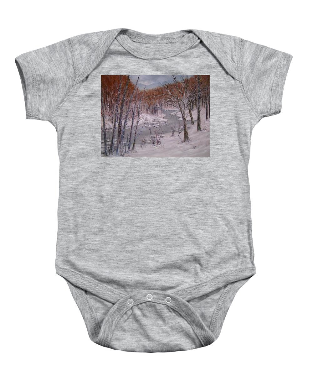 Snow; Landscape Baby Onesie featuring the painting Peace And Quiet by Ben Kiger