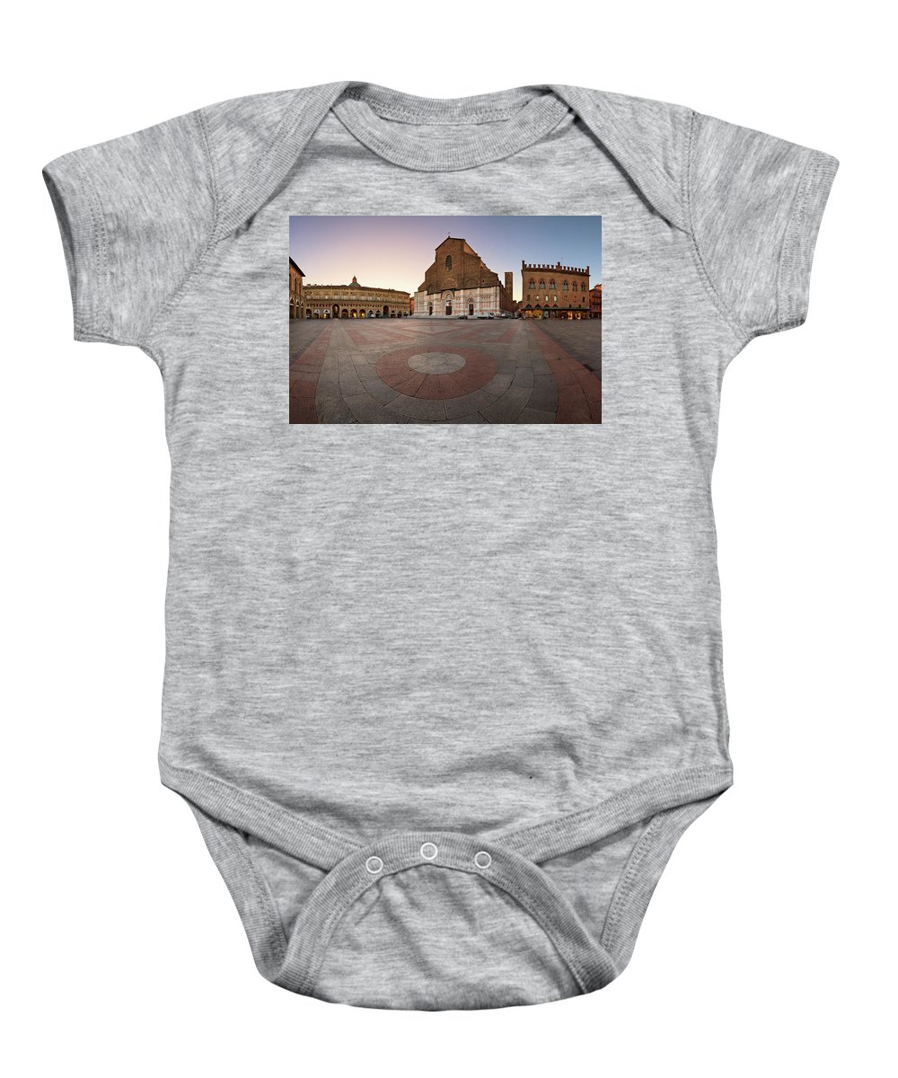 Accursio Baby Onesie featuring the photograph Piazza Maggiore And San Petronio Basilica In The Morning, Bologna, Emilia-romanga, Italy by Andrey Omelyanchuk