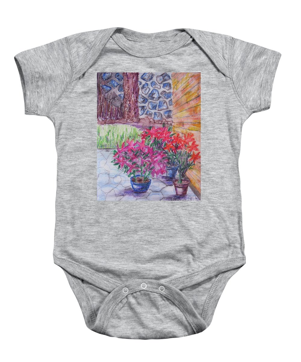 Poinsettias Baby Onesie featuring the painting Poinsettias - Gifted by Judith Espinoza