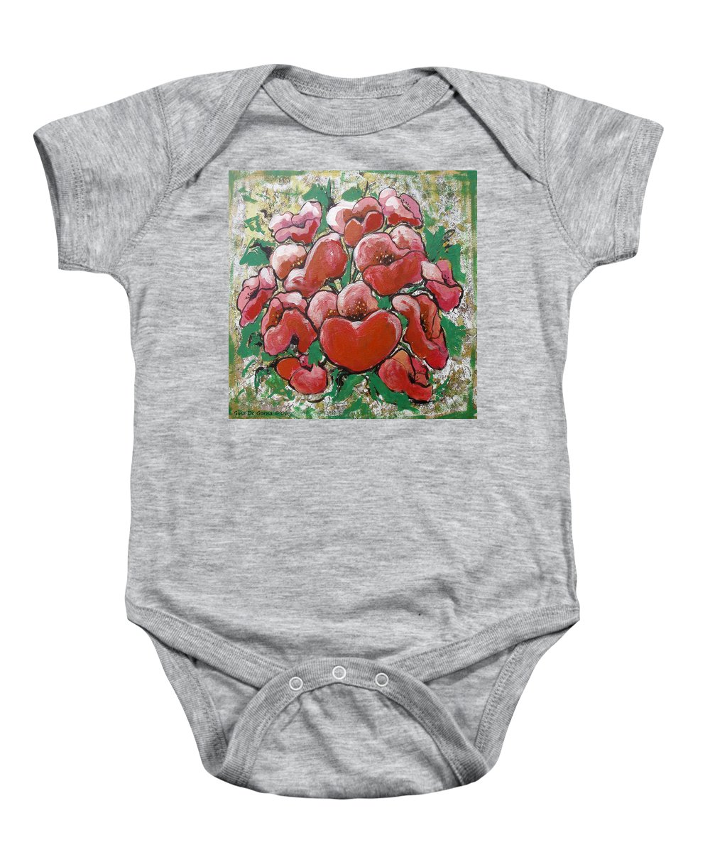 Poppies Baby Onesie featuring the painting Poppies by Gina De Gorna
