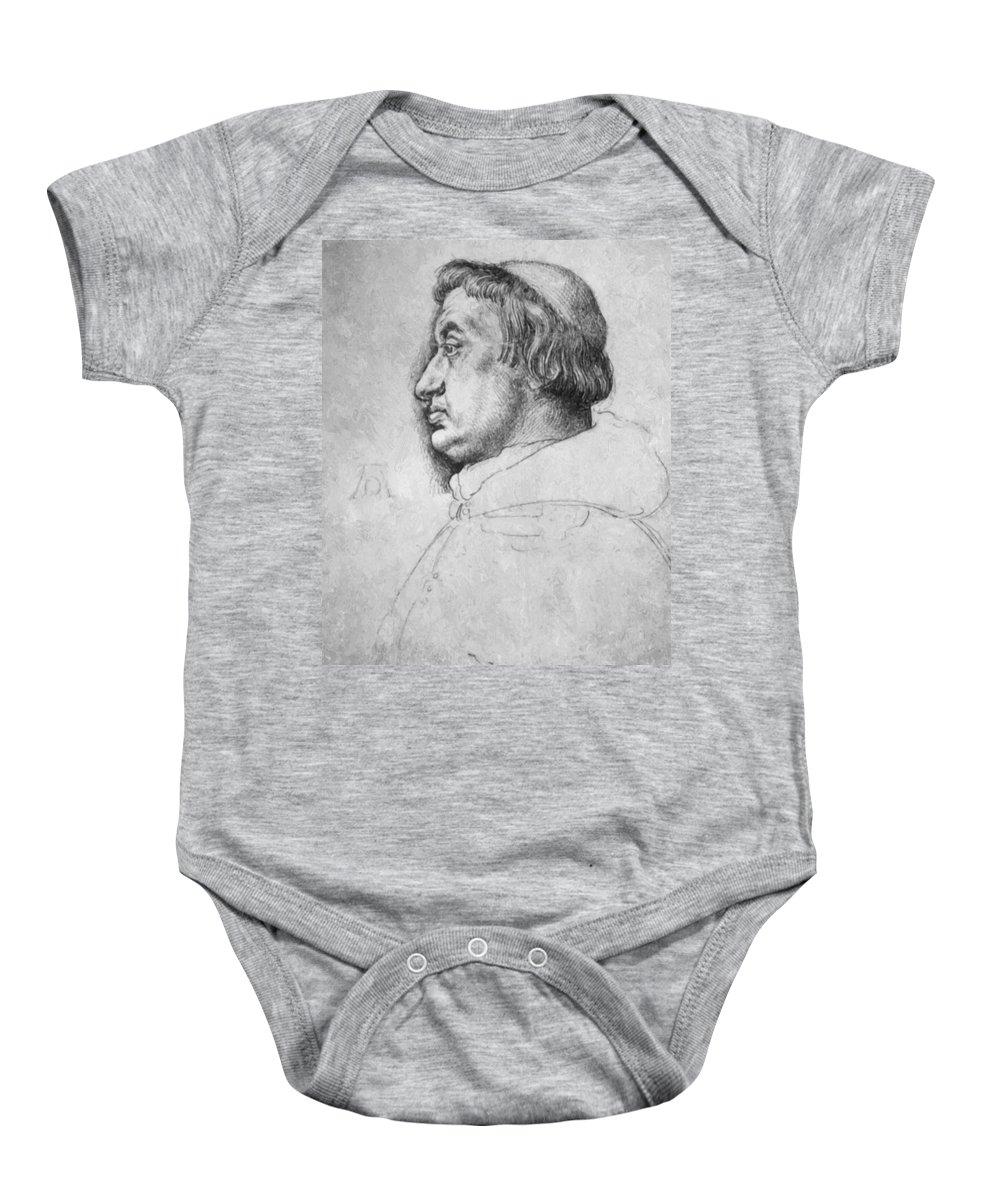 Portrait Baby Onesie featuring the painting Portrait Of Cardinal Albrecht Of Brandenburg by Durer Albrecht
