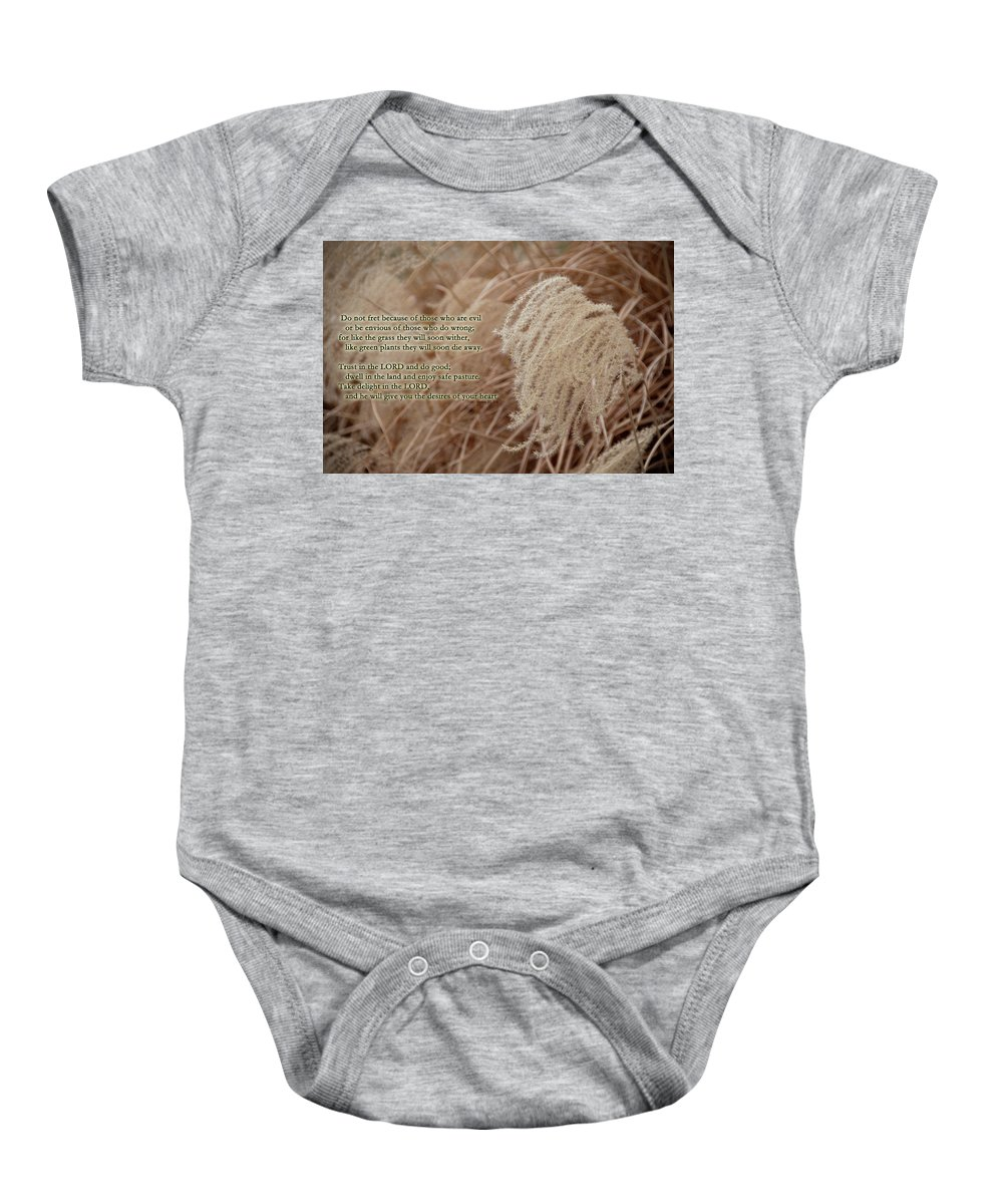 Psalm Baby Onesie featuring the photograph Psalm 37 by David Arment